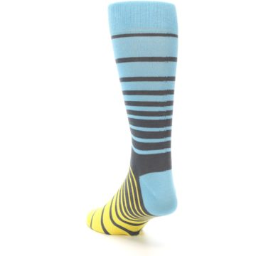 Image of Yellow Blue Grey Stripe Men's Dress Socks (side-2-back-16)