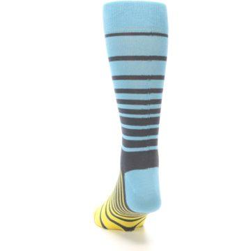 Image of Yellow Blue Grey Stripe Men's Dress Socks (back-17)