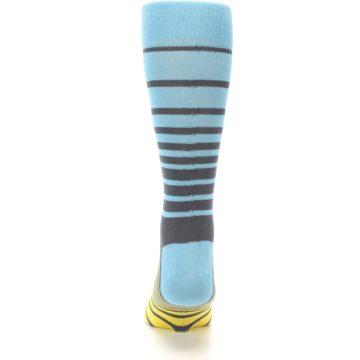 Image of Yellow Blue Grey Stripe Men's Dress Socks (back-18)