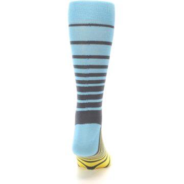 Image of Yellow Blue Grey Stripe Men's Dress Socks (back-19)