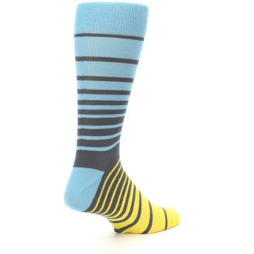 Image of Yellow Blue Grey Stripe Men's Dress Socks (side-1-back-22)