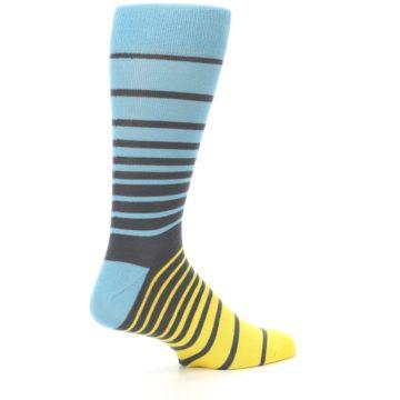 Image of Yellow Blue Grey Stripe Men's Dress Socks (side-1-23)