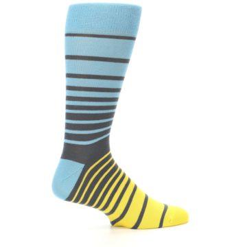 Image of Yellow Blue Grey Stripe Men's Dress Socks (side-1-24)