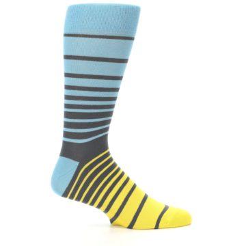 Image of Yellow Blue Grey Stripe Men's Dress Socks (side-1-25)