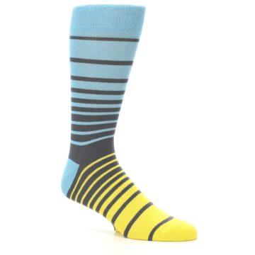 Image of Yellow Blue Grey Stripe Men's Dress Socks (side-1-26)