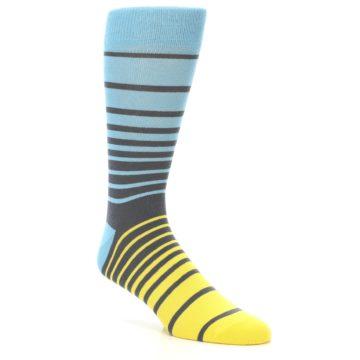 Image of Yellow Blue Grey Stripe Men's Dress Socks (side-1-27)