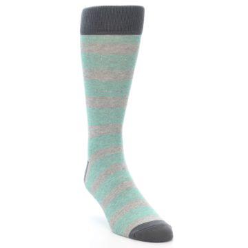 Image of Green Grey Stripe Men's Dress Socks (side-1-front-02)