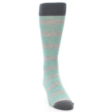 Image of Green Grey Stripe Men's Dress Socks (side-1-front-03)