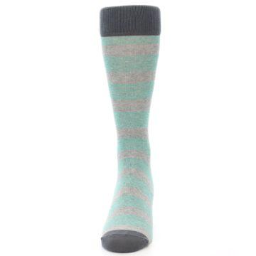 Image of Green Grey Stripe Men's Dress Socks (front-05)
