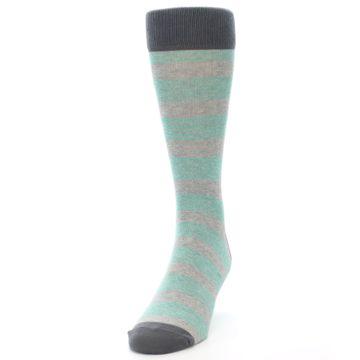 Image of Green Grey Stripe Men's Dress Socks (side-2-front-06)