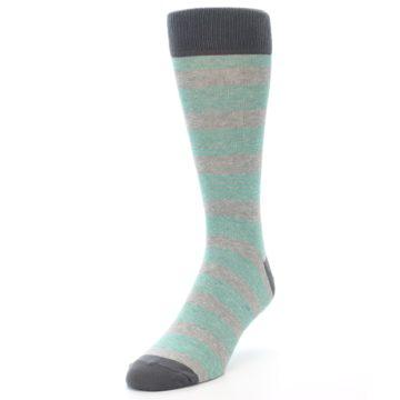 Image of Green Grey Stripe Men's Dress Socks (side-2-front-07)