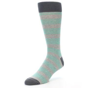 Image of Green Grey Stripe Men's Dress Socks (side-2-front-08)