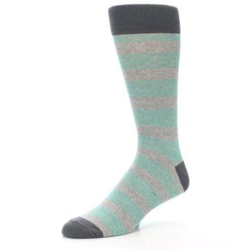 Image of Green Grey Stripe Men's Dress Socks (side-2-09)