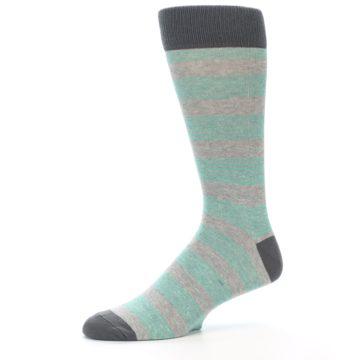 Image of Green Grey Stripe Men's Dress Socks (side-2-10)
