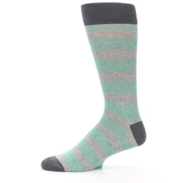 Image of Green Grey Stripe Men's Dress Socks (side-2-11)