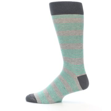Image of Green Grey Stripe Men's Dress Socks (side-2-12)
