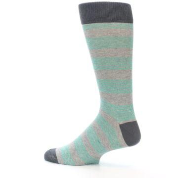 Image of Green Grey Stripe Men's Dress Socks (side-2-13)