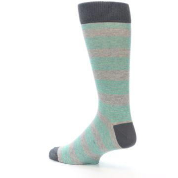 Image of Green Grey Stripe Men's Dress Socks (side-2-back-14)