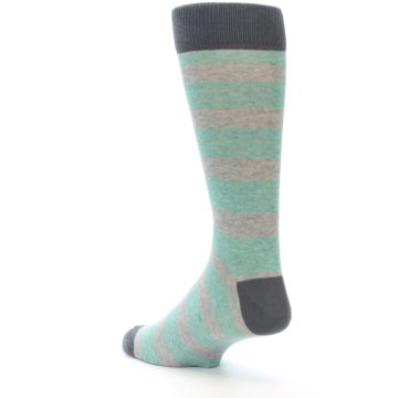 Image of Green Grey Stripe Men's Dress Socks (side-2-back-15)