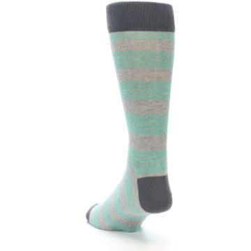 Image of Green Grey Stripe Men's Dress Socks (side-2-back-16)