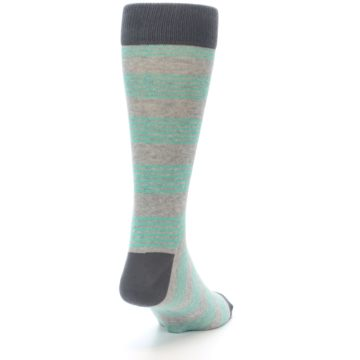 Image of Green Grey Stripe Men's Dress Socks (side-1-back-20)