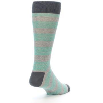 Image of Green Grey Stripe Men's Dress Socks (side-1-back-21)