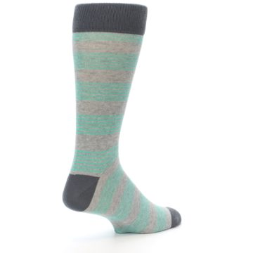 Image of Green Grey Stripe Men's Dress Socks (side-1-back-22)