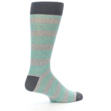 Image of Green Grey Stripe Men's Dress Socks (side-1-23)