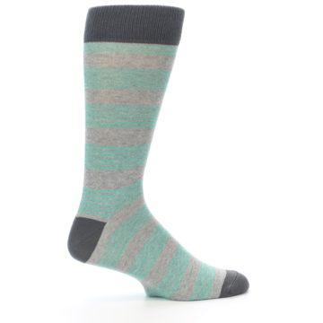 Image of Green Grey Stripe Men's Dress Socks (side-1-24)