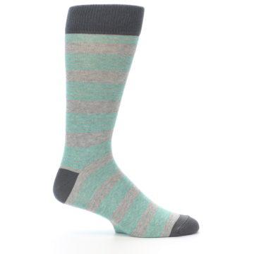 Image of Green Grey Stripe Men's Dress Socks (side-1-25)