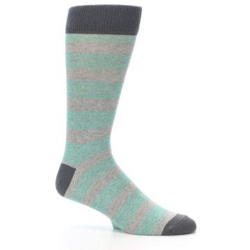 Image of Green Grey Stripe Men's Dress Socks (side-1-26)