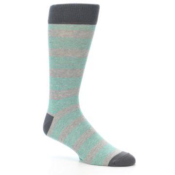 Image of Green Grey Stripe Men's Dress Socks (side-1-27)