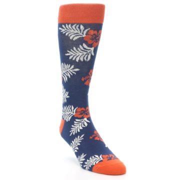 Image of Navy Tropical Flowers Men's Dress Socks (side-1-front-02)