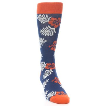 Image of Navy Tropical Flowers Men's Dress Socks (side-1-front-03)