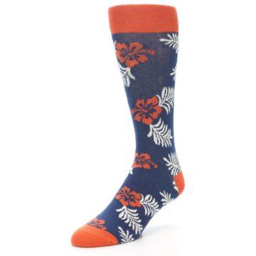 Image of Navy Tropical Flowers Men's Dress Socks (side-2-front-08)
