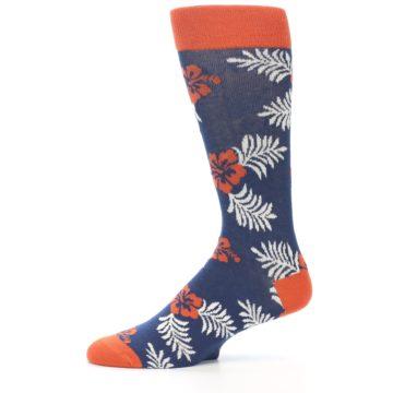 Image of Navy Tropical Flowers Men's Dress Socks (side-2-11)