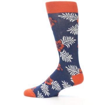 Image of Navy Tropical Flowers Men's Dress Socks (side-2-12)