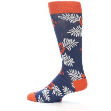 Image of Navy Tropical Flowers Men's Dress Socks (side-2-13)