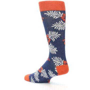 Image of Navy Tropical Flowers Men's Dress Socks (side-2-back-14)