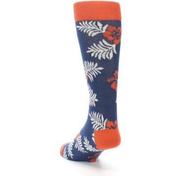 Image of Navy Tropical Flowers Men's Dress Socks (side-2-back-16)