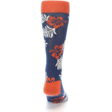 Image of Navy Tropical Flowers Men's Dress Socks (back-19)