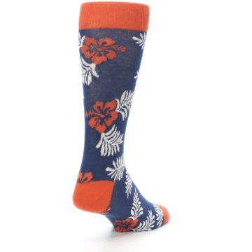 Image of Navy Tropical Flowers Men's Dress Socks (side-1-back-21)