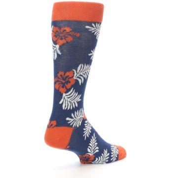 Image of Navy Tropical Flowers Men's Dress Socks (side-1-back-22)