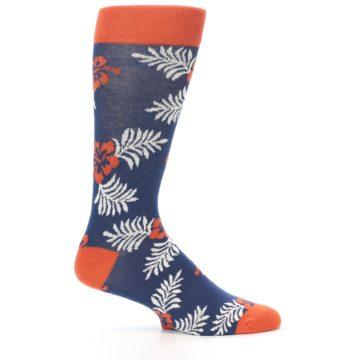 Image of Navy Tropical Flowers Men's Dress Socks (side-1-25)