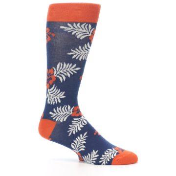 Image of Navy Tropical Flowers Men's Dress Socks (side-1-26)