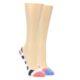 Image of Pink Navy Stripe Women's No-See-Um 2 Pack Socks (side-1-front-01)