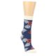 Image of Navy Tropical Flowers Women's Dress Socks (side-1-front-01)