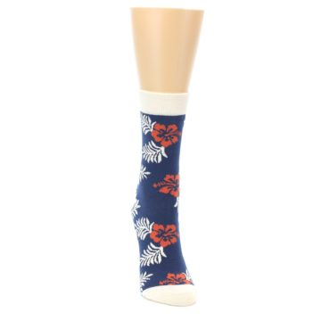 Image of Navy Tropical Flowers Women's Dress Socks (side-1-front-03)