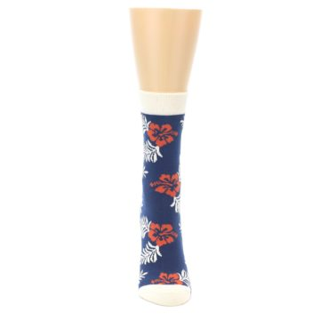 Image of Navy Tropical Flowers Women's Dress Socks (front-04)