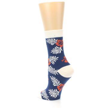 Image of Navy Tropical Flowers Women's Dress Socks (side-2-back-14)